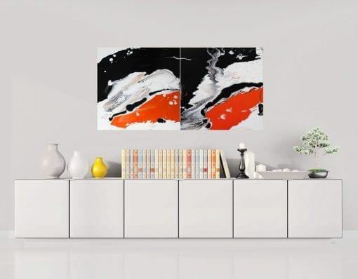 In Situ, Luminious Diptych - Splash of Orange