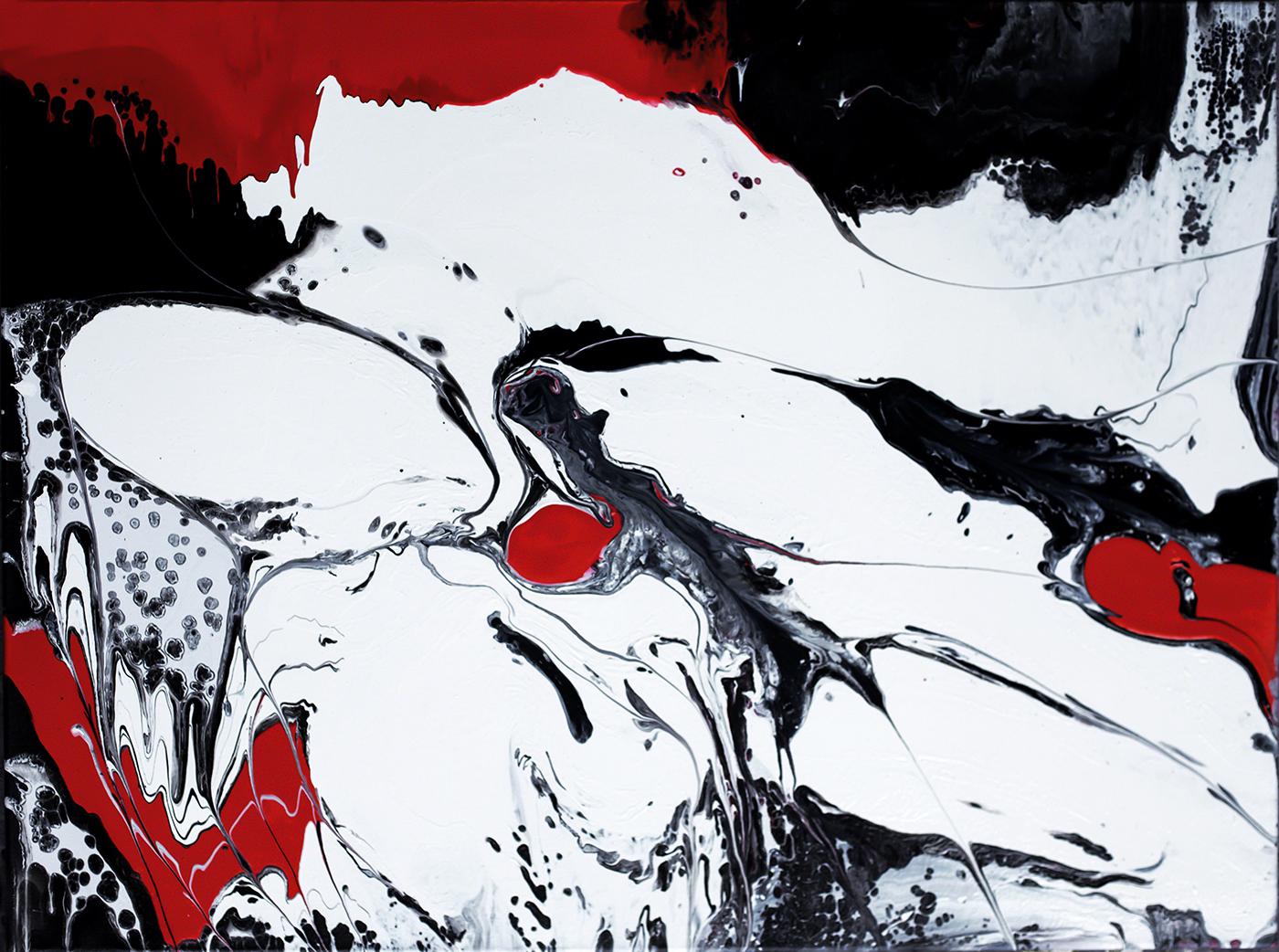 Red Black on White 1