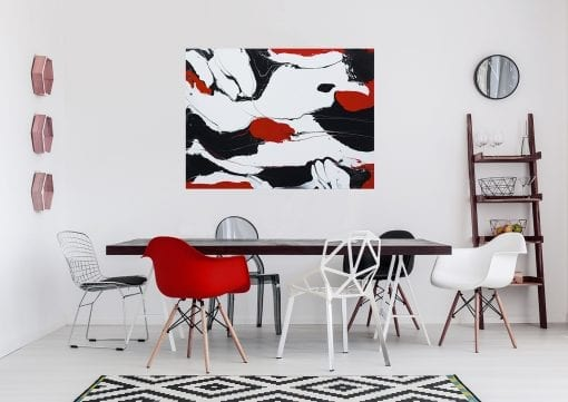 In Situ, Red and Black on White 2
