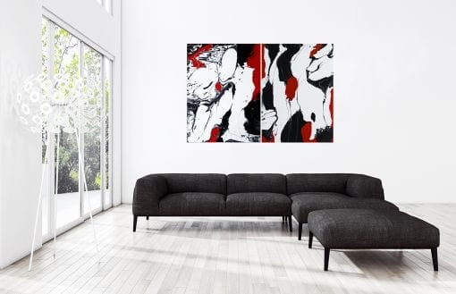 In Situ,Red Black on White 1 & 2, Luminious Series Diptych