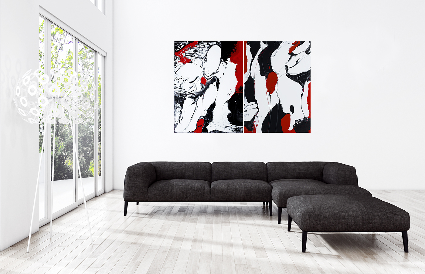 red black on white 2 minimal abstract paintings by artist svein