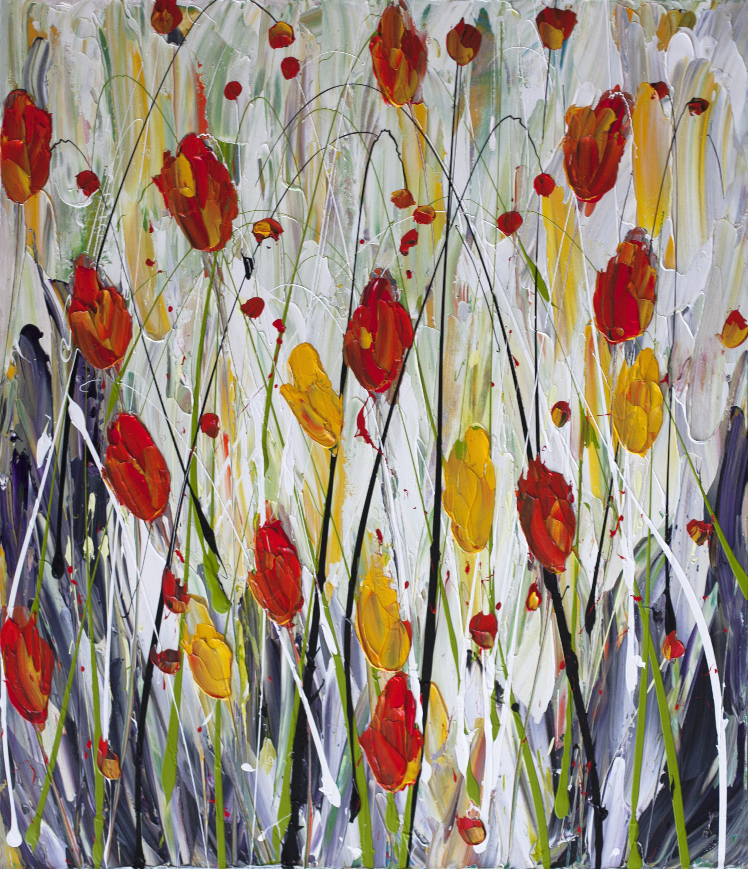 Tulip season tulip painting by international artist svein for What season are tulips