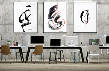 triptych-black-white-ink-on-paper-office-in-situ